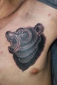 纹身胸部男 男生胸部黑色的熊纹身图片