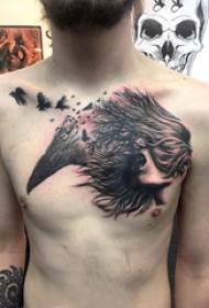 人物肖像纹身 男生胸部人物肖像纹身图片