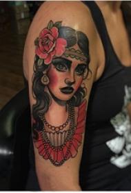 女生人物纹身图案 女生手臂上人物肖像纹身图片