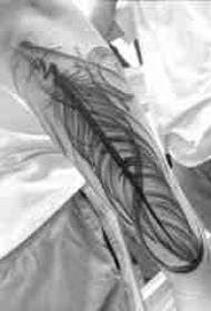 手臂纹身素材 男生手臂上黑色的羽毛纹身图片