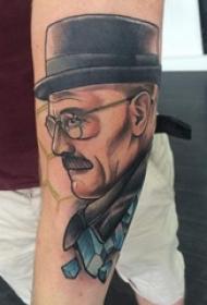 彩绘纹身 男生手臂上彩色的人物肖像纹身图片