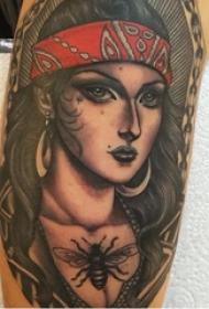 女生人物纹身图案 多款简单线条纹身人物纹身图案