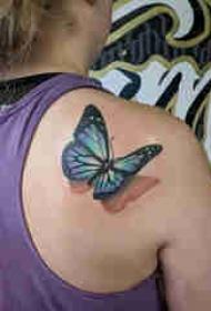 百乐动物纹身 女生肩部彩色的蝴蝶纹身图片