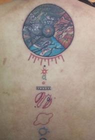 纹身彩色 男生背部彩绘纹身图片