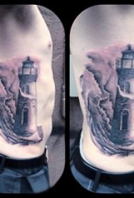 侧腰纹身男 男生侧腰上黑色的灯塔纹身图片