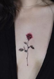 女生胸部纹身 女生胸部彩色的玫瑰纹身图片