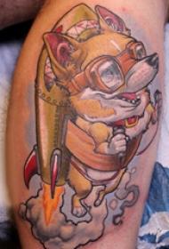 欧美小腿纹身 男生小腿上彩色的卡通小狗纹身图片