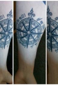 手臂纹身素材 男生手臂上英文和指南针纹身图片
