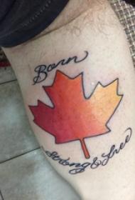 楓葉紋身圖 男生小腿上英文和楓葉紋身圖片