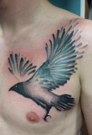 纹身鸟 男生胸部小鸟纹身图案