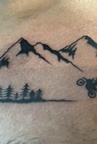 小山岳纹身 男生锁骨下小山岳纹身图片