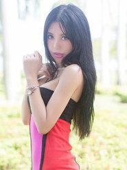 沙巴旅拍 綺里嘉ula紅黑連衣裙圖片