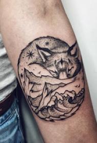 小动物纹身 男生手臂上狼和山水风景纹身图片