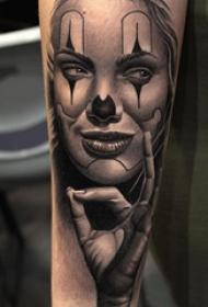小丑紋身 多款黑灰紋身點刺技巧小丑紋身圖案