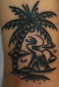 椰樹紋身圖 男生手臂上椰樹紋身圖案