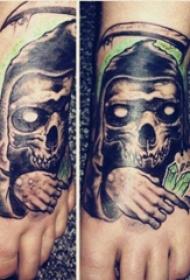 死神鐮刀紋身圖案  女生腳背上死神鐮刀紋身圖片