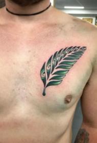 胸部纹身男 男生胸部彩色的叶子纹身图片