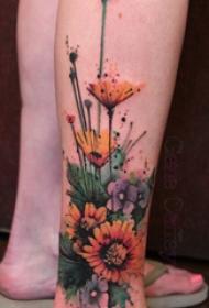 向日葵纹身图案 多款彩绘纹身素描向日葵纹身图案