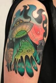 飞碟纹身图案 男生大臂上彩色的飞碟纹身图片