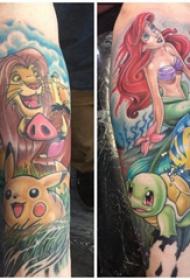 手臂纹身素材 情侣手臂上彩色的卡通纹身图片