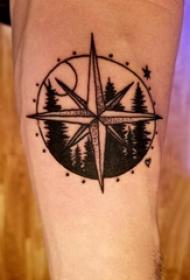 手臂纹身素材 男内行臂优势景和指南针纹身图片