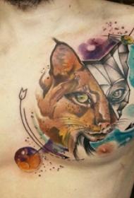 豹子头纹身 男生胸部豹子头纹身图片