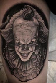 小丑纹身 男生大腿上黑色的小丑纹身图片