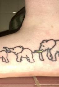 象紋身 男生腳部象紋身圖片