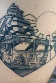 建筑物纹身  男生腿上建筑物和汽车纹身图片