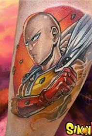 纹身卡通人物 男生小腿上彩色的一拳超人纹身图片