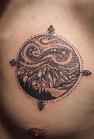 小山峰纹身 男生胸部小山峰纹身图片