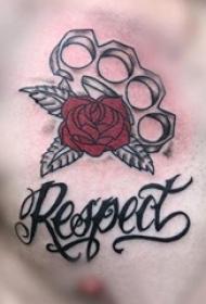 花朵纹身 男生胸部花朵纹身图片