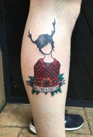 欧美小腿纹身 男生小腿上植物和人物纹身图片