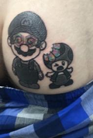 超级玛丽纹身 男生臀部黑色的超级玛丽纹身图片