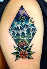 小山峰纹身 多款彩绘纹身素描山峰纹身图案