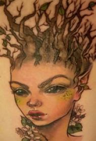 人物肖像纹身   女生大腿上彩绘精灵纹身图片
