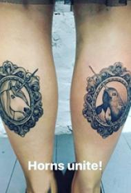 小动物纹身 女生小腿上小动物纹身图片