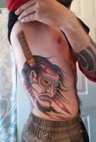 般若面具纹身 男生侧肋上般若面具纹身图片