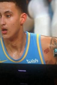 紋身數字設計 男生肩上紅色的數字紋身圖片