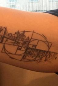 手臂纹身图片 男生手臂上几何和建筑物纹身图片