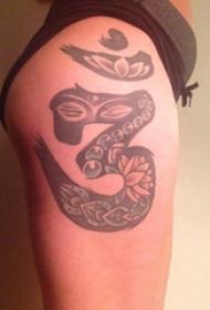 纹身文字图案 女生大腿上文字和花朵纹身图片