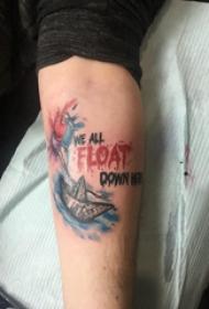 纹身字母纹身图案  男生手臂上字母和帆船纹身图片