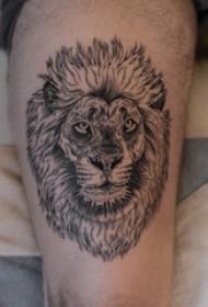 狮子头纹身图片 男生大腿上狮子头纹身图片