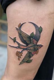 手臂纹身素材 男生手臂上月亮和小鸟纹身图片