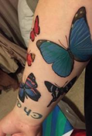 小动物纹身 女生手臂上彩色的蝴蝶纹身图片