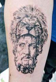 手臂纹身图片 男生手臂上狮子和人物纹身图片