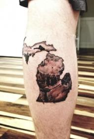 地图纹身 男生腿上创意的地图纹身图片