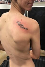 花体英文纹身 女生背部英文短句纹身图片
