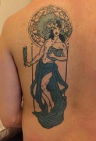 人物纹身  男生后背上彩色的人物纹身图片