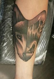狼头纹身 男生手臂上狼头纹身图片